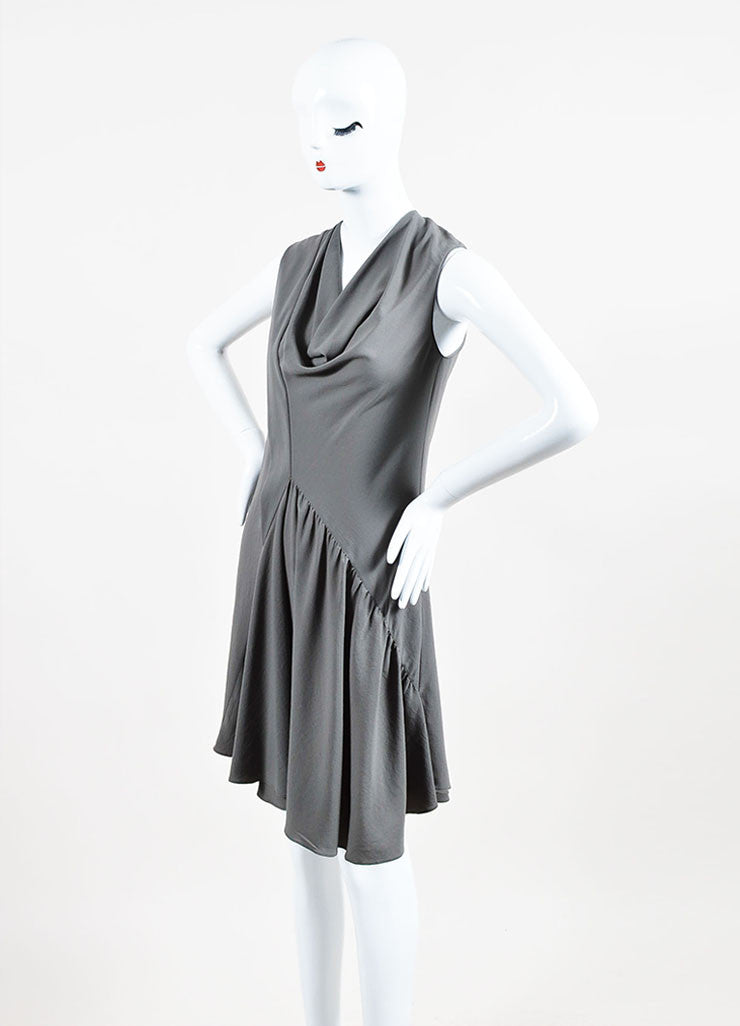 Givenchy Grey Crepe Cowl Neck Sleeveless Asymmetric Waist Pleated Dress Sideview