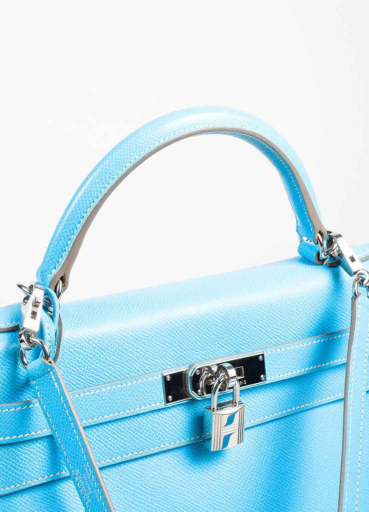 "Hermes Celeste Mykonos Blue Espom Leather ""Retourne 32 cm"" Kelly Bag Detail 7"