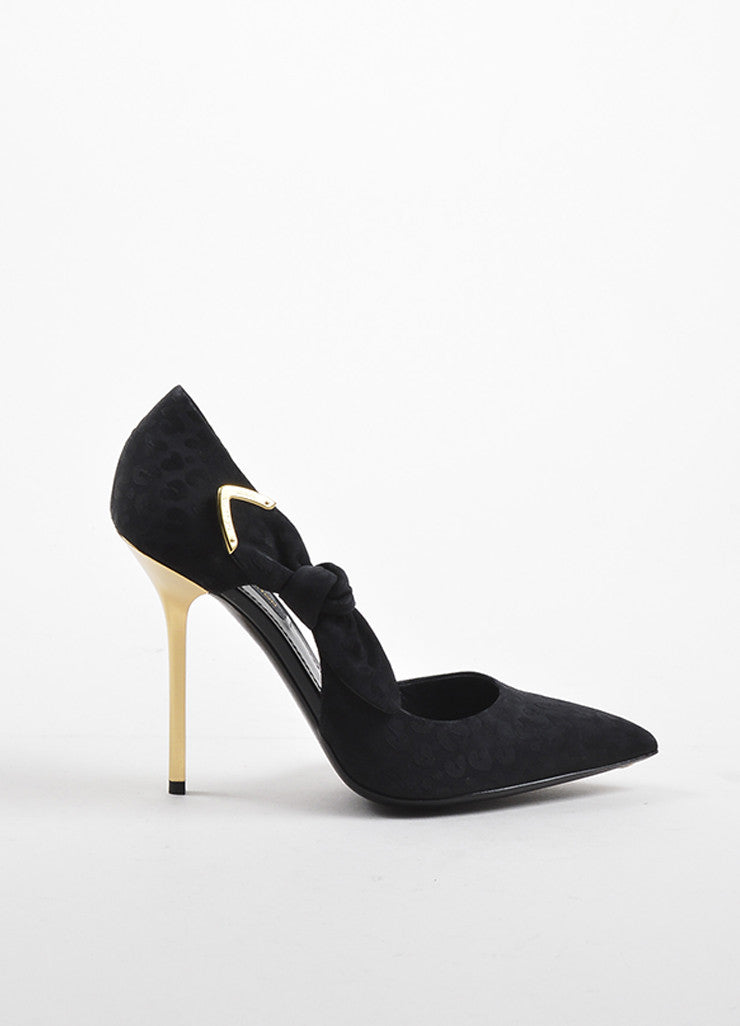 "Black Louis Vuitton Gold Tone Satin Print Knot D'Orsay ""Grace"" Pumps Side"