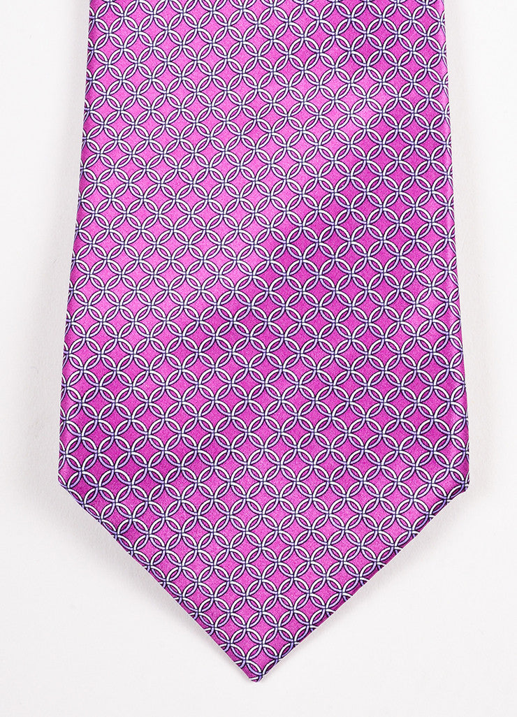 Men's Brioni Purple and Grey Silk Chain Print Necktie Detail