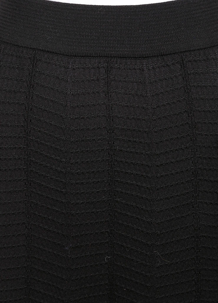 M Missoni Black Textured Wool Blend Knit Maxi Column Skirt Detail