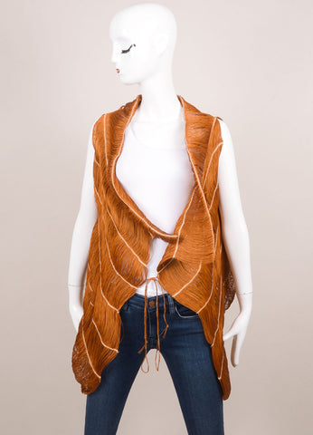 Marcia Ganem New With Tags Burnt Orange Cord Vest Frontview