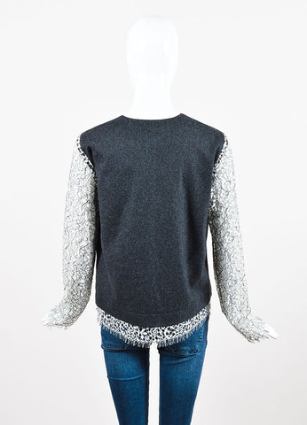 Marissa Webb Grey and White Wool Lace Detail Split Neck Long Sleeve Top Backview