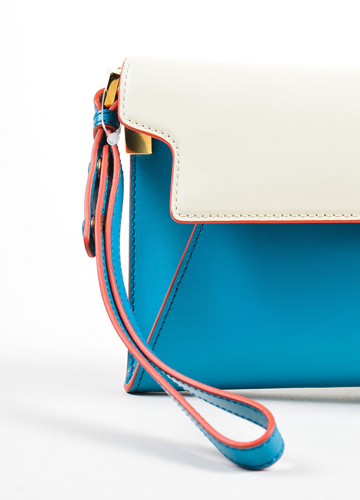 "Marni ""Vivid Blue Antic White"" Leather ""Origami"" Clutch Bag Detail 2"