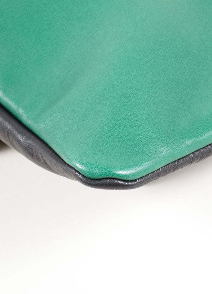 "Marni Green and Black Lambskin Foldover ""Muppet"" Clutch Bag Detail"
