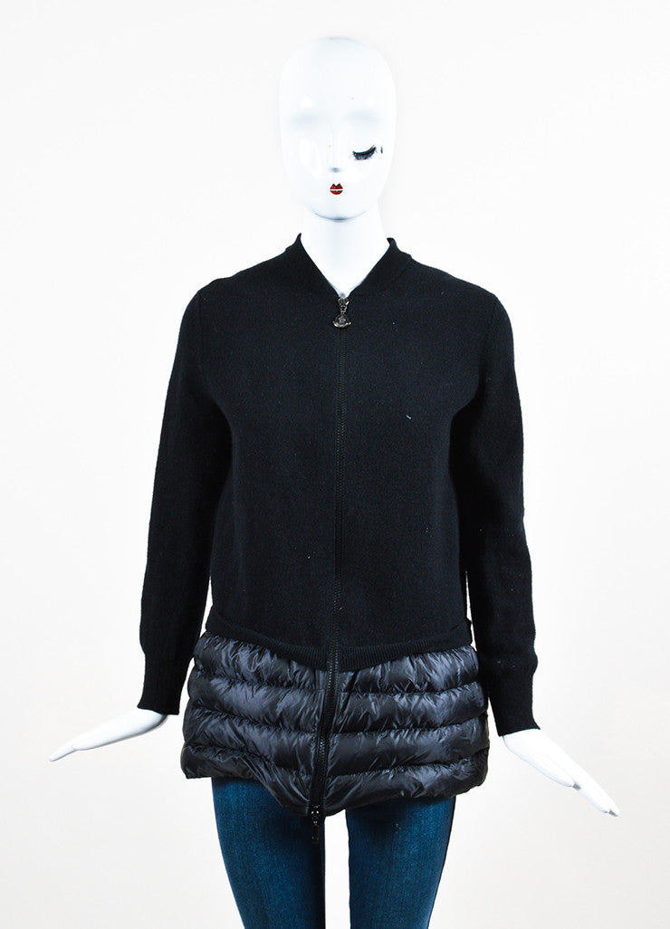 Moncler Black Wool and Nylon Feather Filled Trim Cardigan Frontview 2
