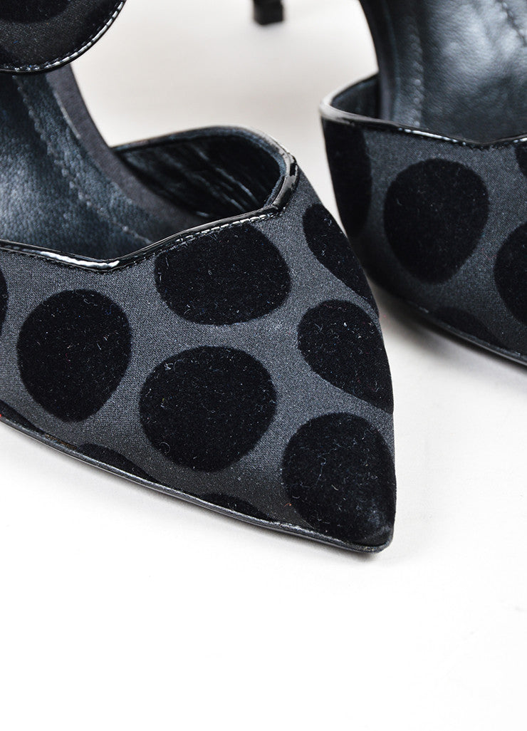 "Black Nicholas Kirkwood Polka Dot Flocked Slingback ""Leda"" Pumps Detail"