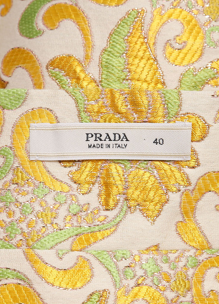 Prada Cream, Green, and Yellow Cotton and Silk Brocade Short A Line Skirt Brand