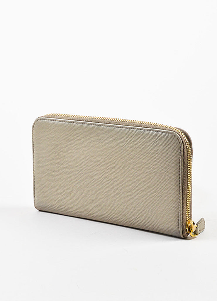 Prada Taupe Saffiano Leather Gold Toned Hardware Long Zip Around Wallet Sideview