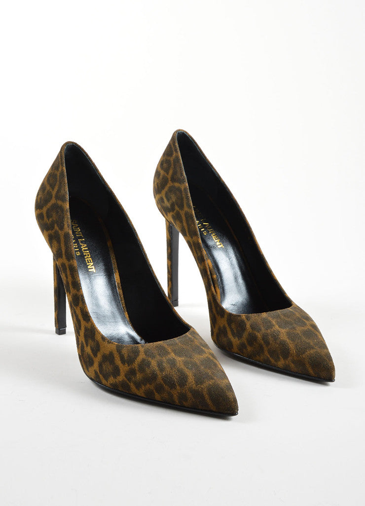 Saint Laurent Brown and Black Leopard Print Suede Pointed Toe Pumps Frontview