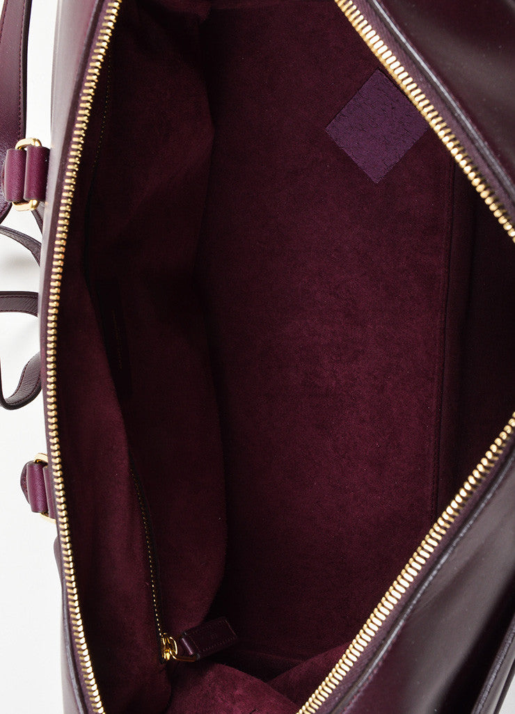 "Burgundy Leather Saint Laurent ""Classic Duffle 12"" Satchel Bag Interior"