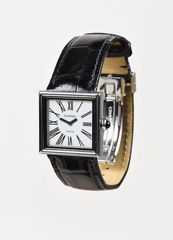 "Chanel Black Alligator Leather Square ""Acier Etanche"" Watch Sideview"