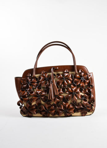Valentino Brown Flower Embellished Tote Bag Front