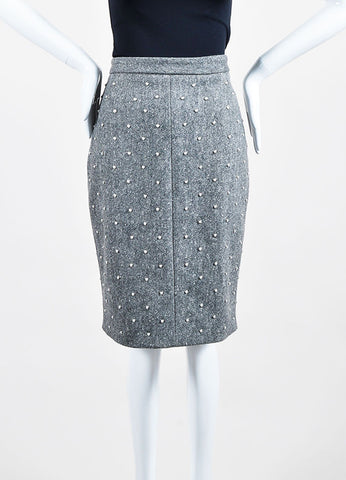 Grey Wool Adam Lippes Faux Pearl Studded Embellished Pencil Skirt Frontview