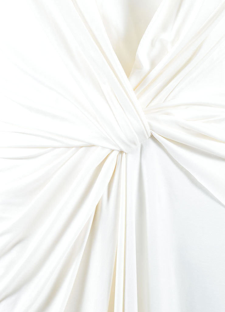 Alexander Wang White Jersey Twist Front Halter Neckline Dress Detail