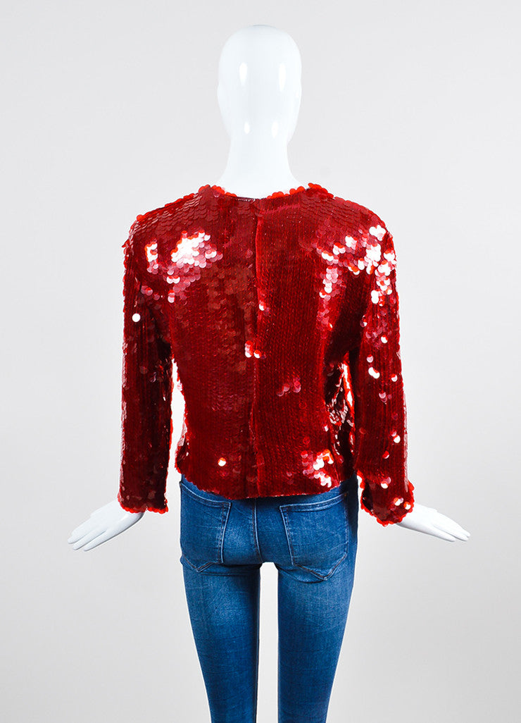 Red Armani Collezioni Sequin Paillette Snap Front Jacket Backview