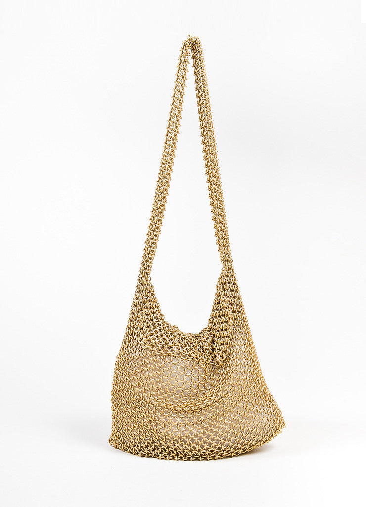 Bottega Veneta Gold Toned Chainmail Small Shoulder Bag Frontview