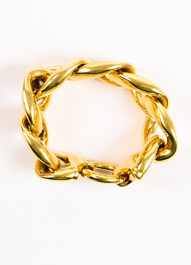 Celine Gold Toned Oversized Chunky Curb Link Chain Bracelet topview