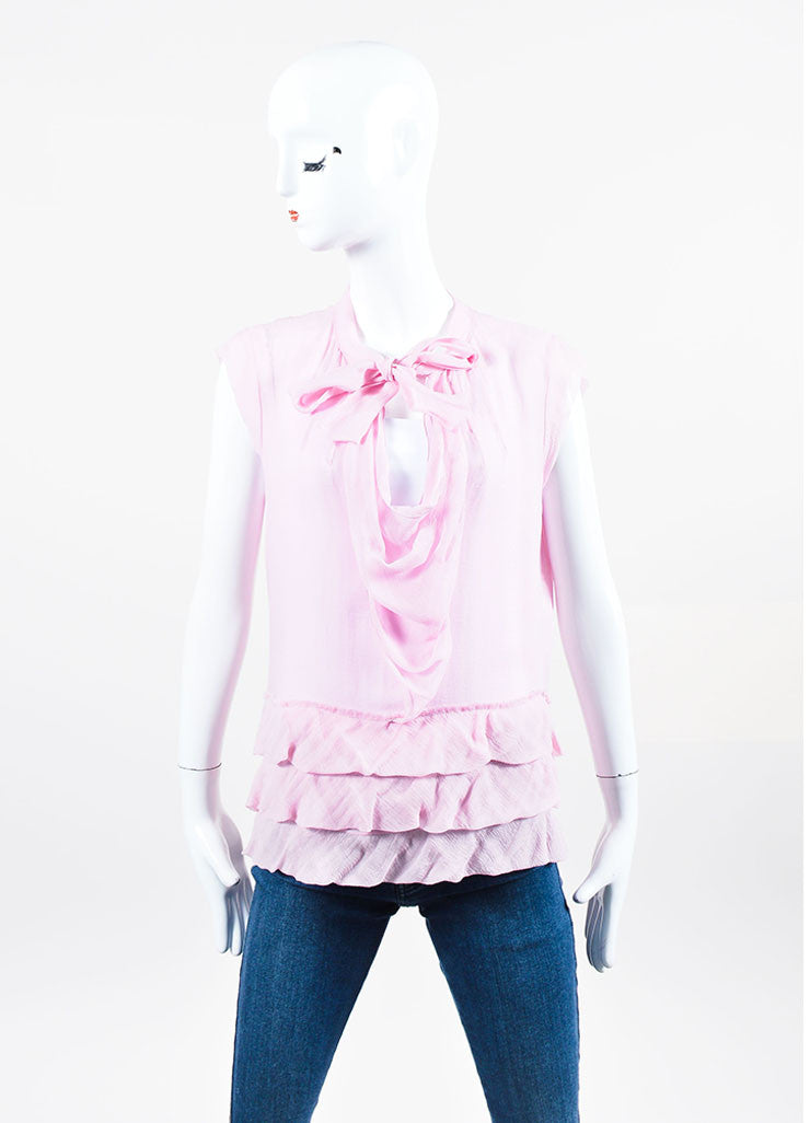 Pink Chanel Silk Chiffon Sheer Ruffled Neck Tie Sleeveless Top Frontview