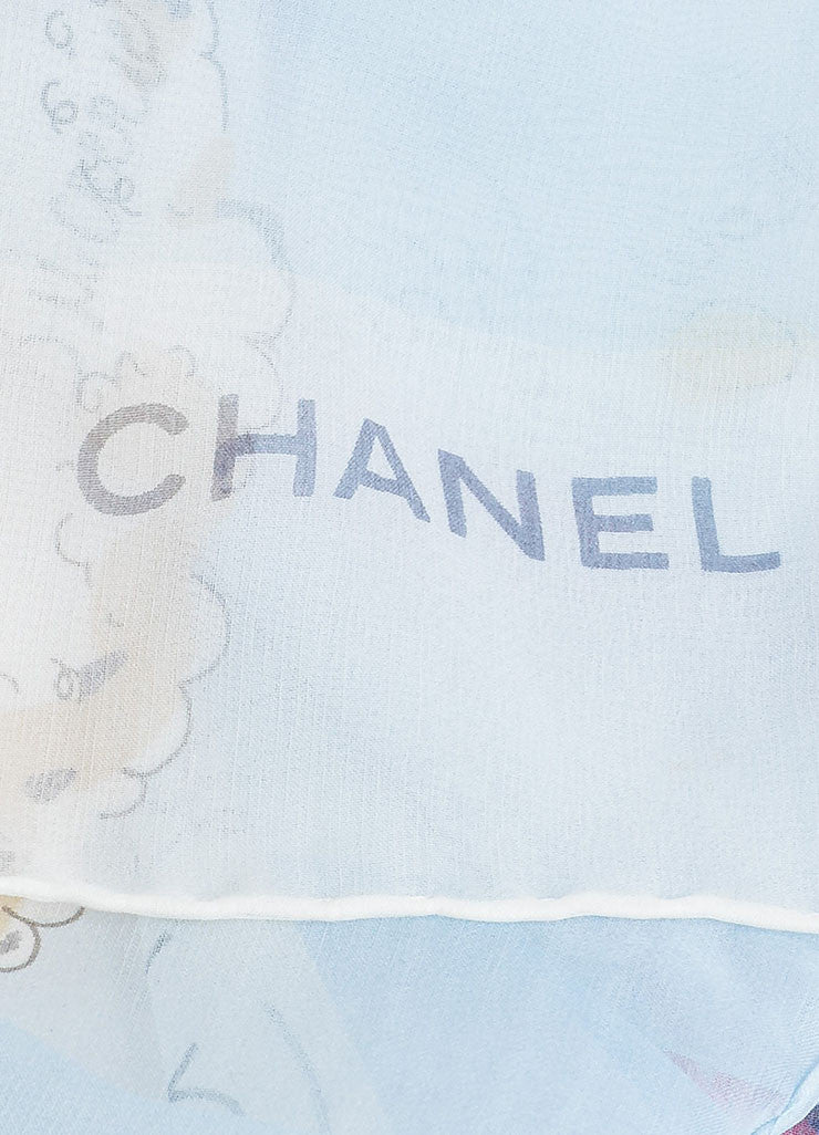 Blue and Multicolor Chanel Silk Candy Print Sheer Oblong Scarf Brand