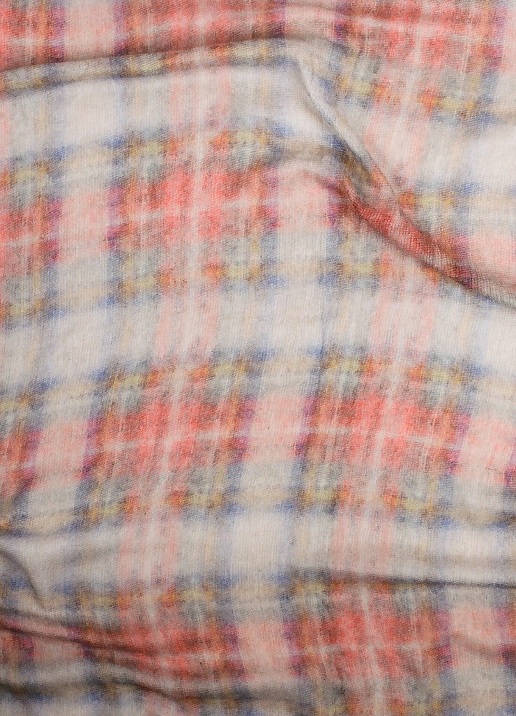 Chanel Red, Grey, and Navy Modal and Mohair Watercolor Tartan Plaid Large Frayed Scarf Detail 2