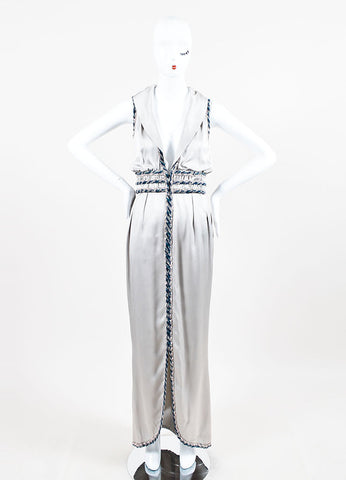 Chanel Silver Silk Whipstitch Trim Shawl Collar Sleeveless Gown Frontview