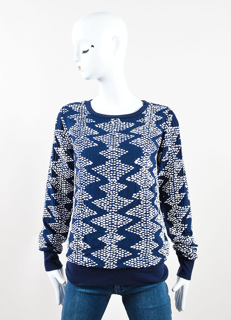 Closed Navy and White Textured Dot Pull Over Sweater Frontview