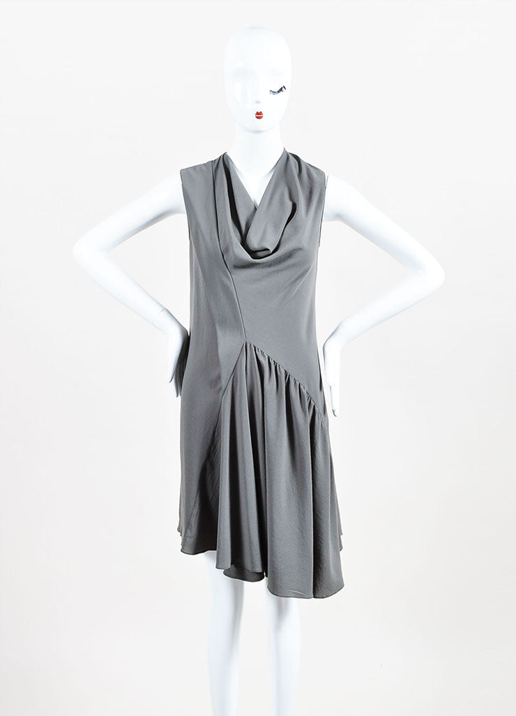 Givenchy Grey Crepe Cowl Neck Sleeveless Asymmetric Waist Pleated Dress Frontview