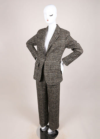 Hermes Brown and Green Cashmere, Wool, and Angora Tweed Pant Suit Sideview