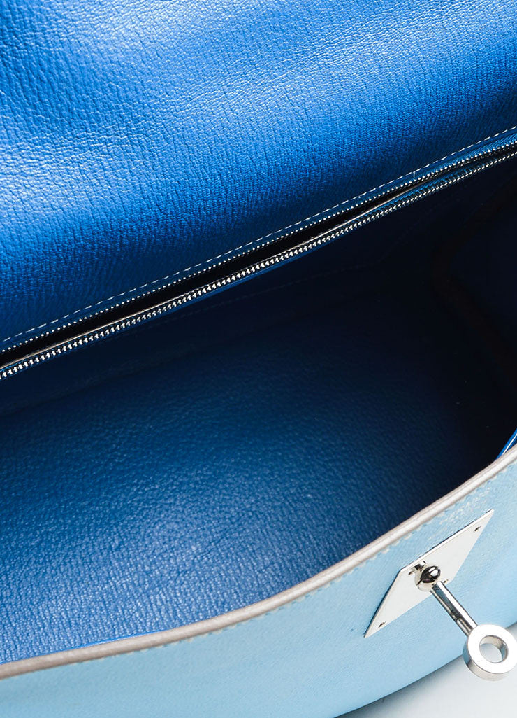 "Hermes Celeste Mykonos Blue Espom Leather ""Retourne 32 cm"" Kelly Bag Detail 8"