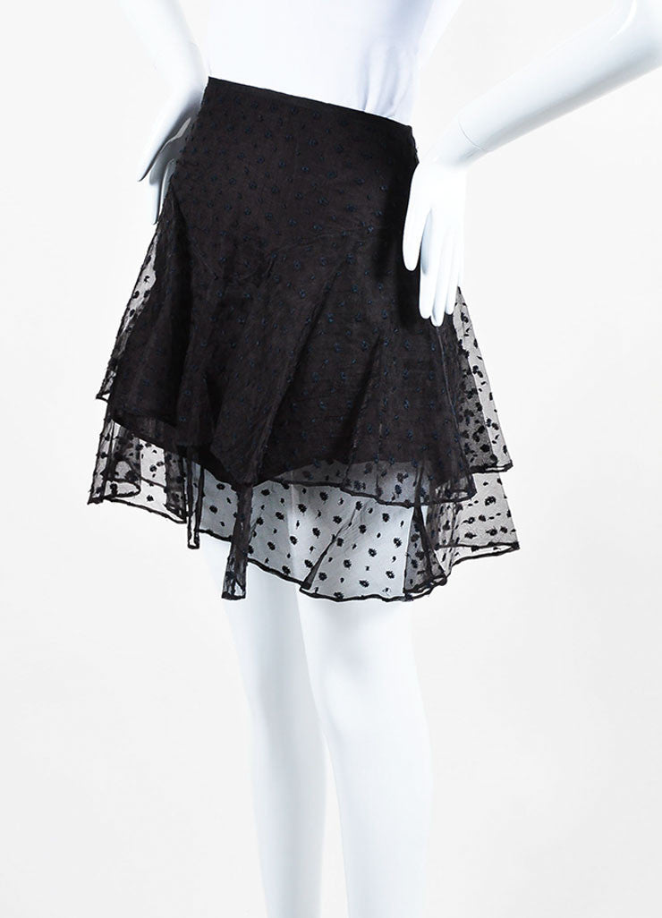 "Black Isabel Marant Silk Embroidered ""Vadim"" Tiered Ruffle Skirt Sideview"