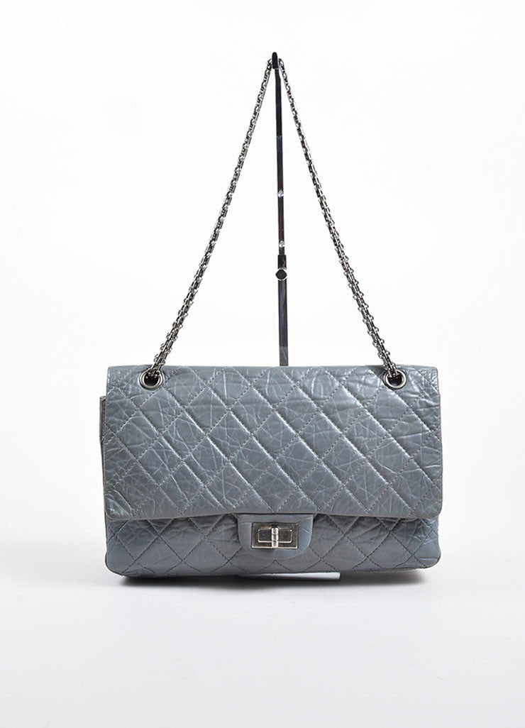 "Grey Chanel Distressed Quilted Leather ""Reissue 2.55 227 Jumbo Double Flap"" Bag Frontview"