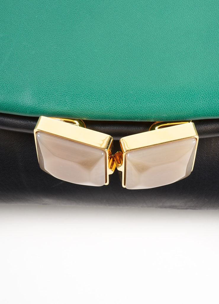 "Marni Green and Black Lambskin Foldover ""Muppet"" Clutch Bag Detail 2"