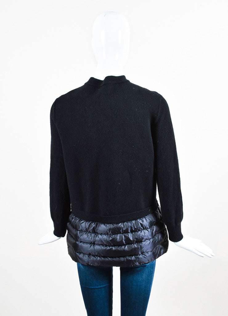 Moncler Black Wool and Nylon Feather Filled Trim Cardigan Backview