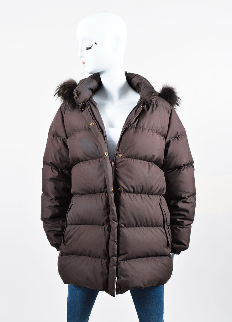 Dark Brown Moncler Fur Hood Zip Down Puffer Coat Frontview