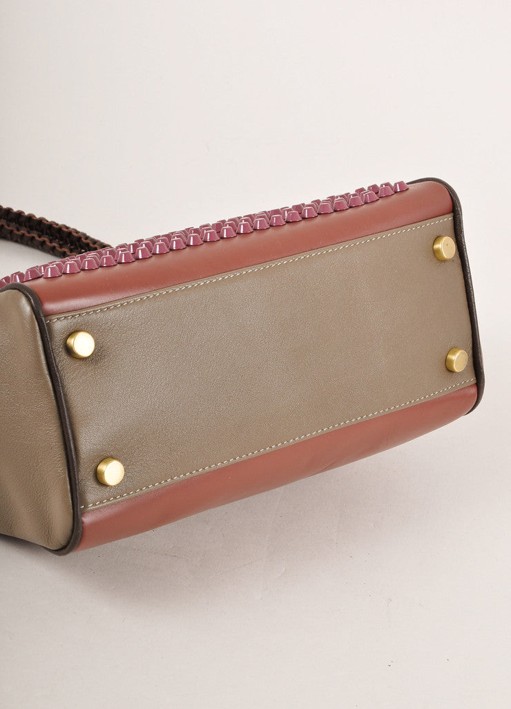 "Nada Sawaya New With Tags Brown and Purple Studded Leather ""Mini Josy"" Satchel Bag Bottom View"