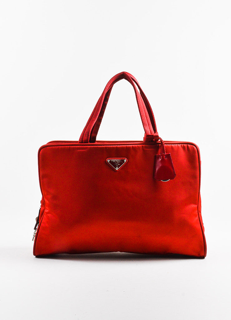 Red Prada Tessuto Nylon Three Compartment Tote Bag Front