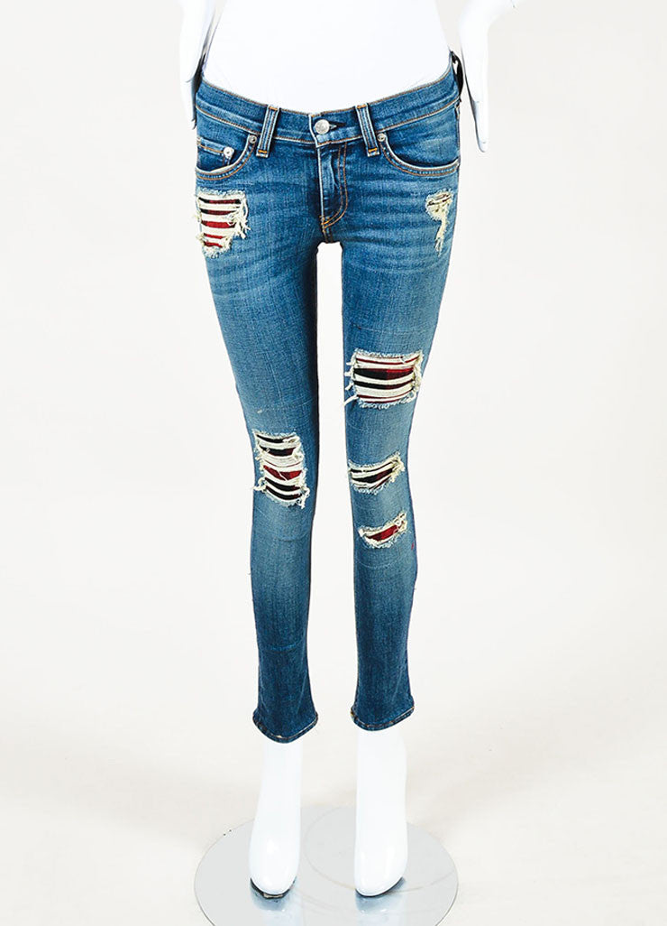 Rag & Bone Blue Distressed Wash Ripped Red Patchwork Skinny Jeans frontview