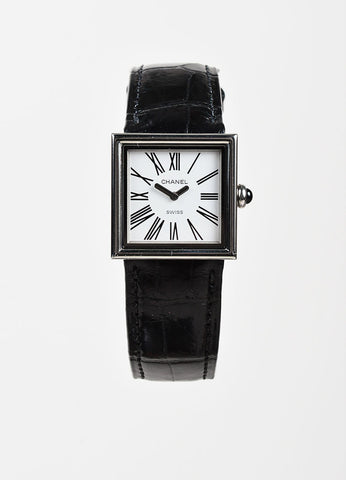"Chanel Black Alligator Leather Square ""Acier Etanche"" Watch Frontview"