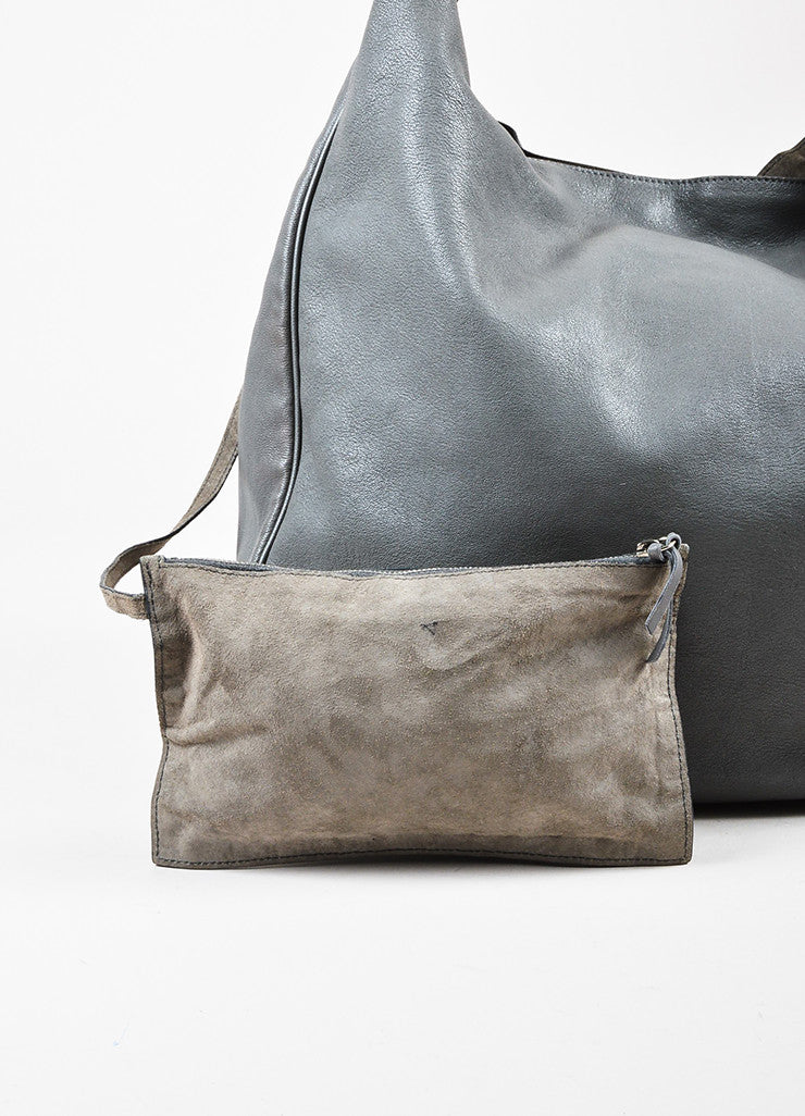 "Yves Saint Laurent Grey Leather Stingray Handle ""Roady"" Hobo Bag Detail 3"