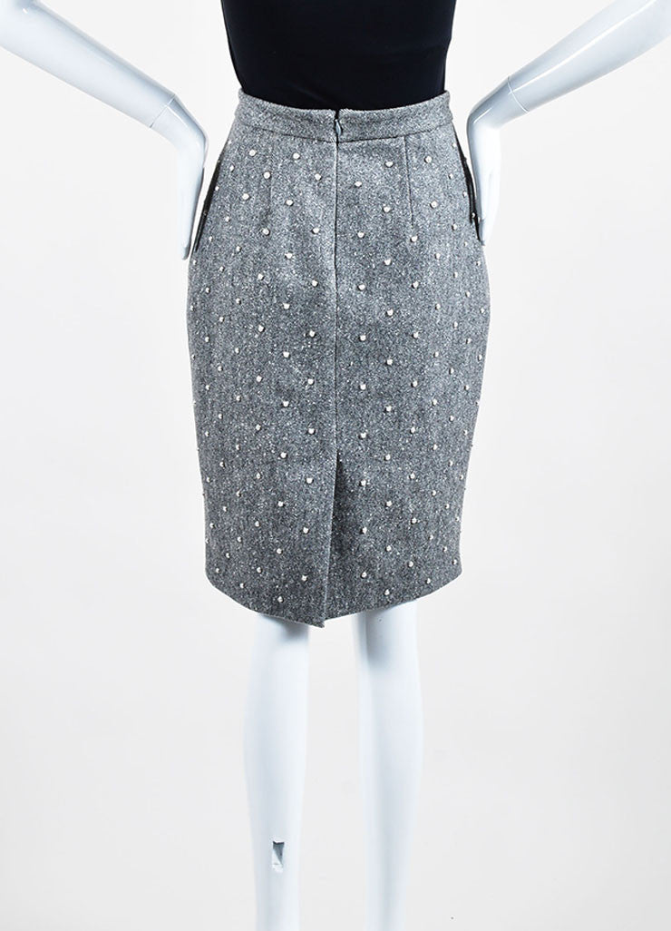 Grey Wool Adam Lippes Faux Pearl Studded Embellished Pencil Skirt Backview