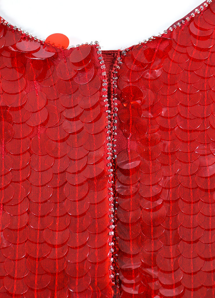 Red Armani Collezioni Sequin Paillette Snap Front Jacket Detail