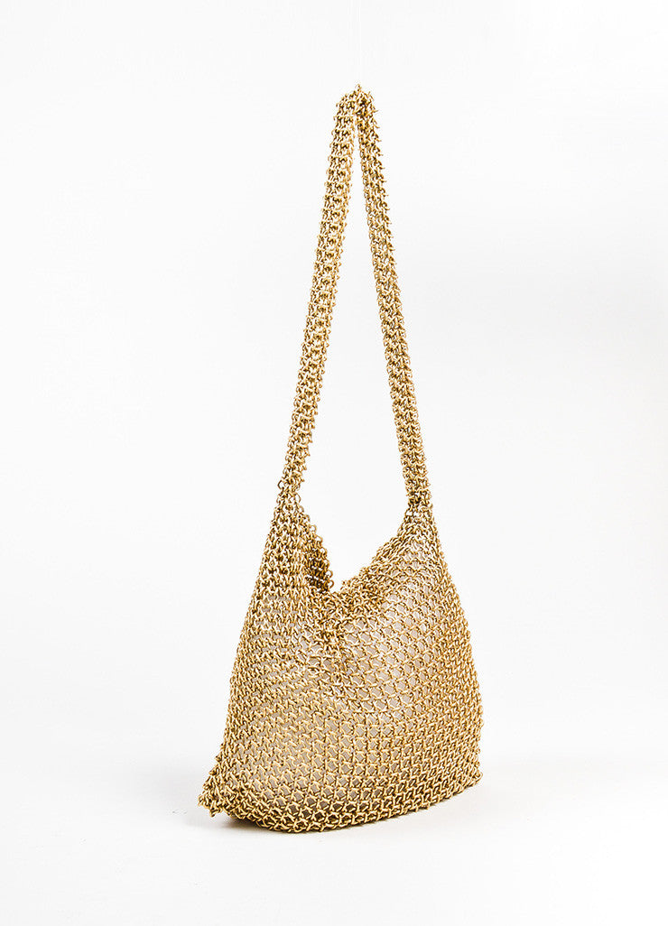 Bottega Veneta Gold Toned Chainmail Small Shoulder Bag Sideview