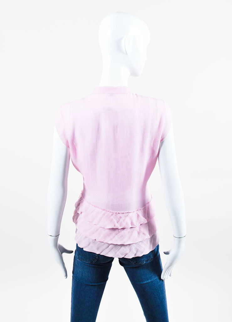 Pink Chanel Silk Chiffon Sheer Ruffled Neck Tie Sleeveless Top Backview