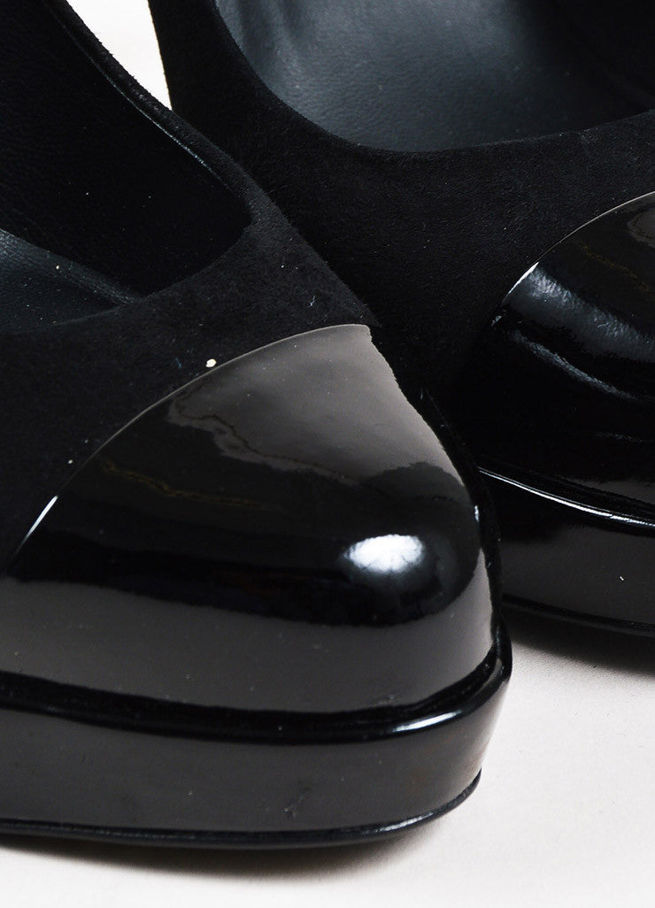 Chanel Black Suede and Patent Leather Cap Toe 'CC' Platform Pumps Detail