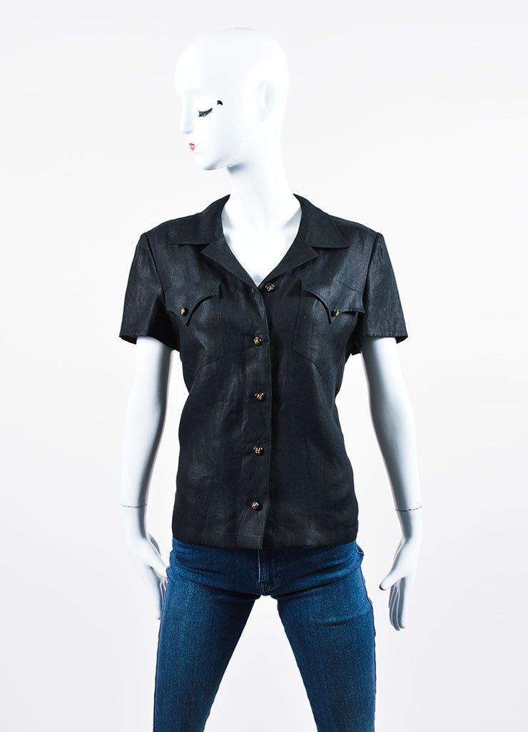 Black Chanel Linen 'CC' Buttoned Chest Pocket Short Sleeve Blouse Frontview