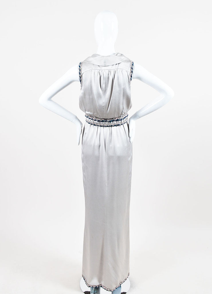 Chanel Silver Silk Whipstitch Trim Shawl Collar Sleeveless Gown Backview