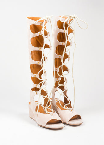 Beige Chloe Suede Lace Up Knee High Gladiator Wedge Sandals Frontview