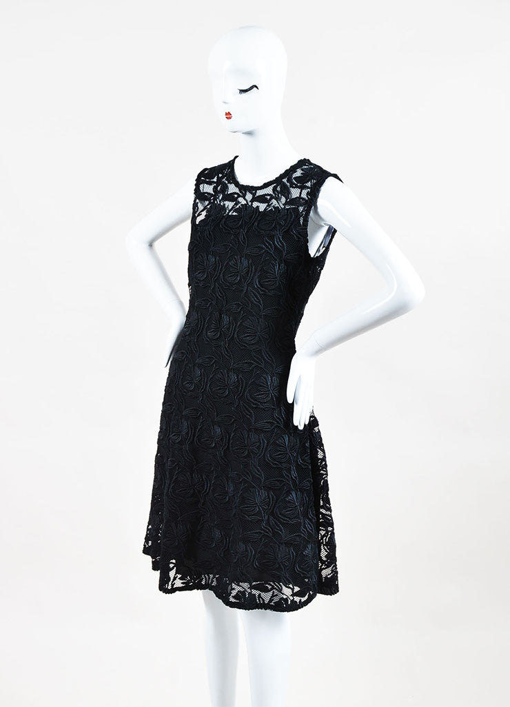 "Christian Dior ""Nero"" Black Floral Guipure Flared Cocktail Dress Front"