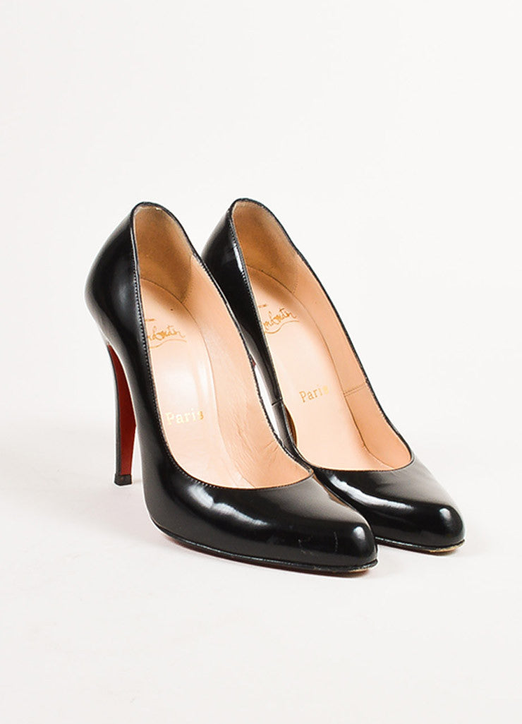 "Christian Louboutin Black Patent Leather Pointed ""Decolette 868"" Pumps Frontview"